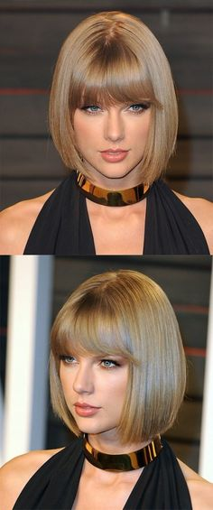 Straight Blonde Bob with Blunt Bangs