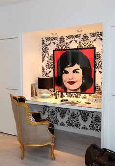 Andy Warhol, Jackie O. print with damask backdrop - just need it to be Marilyn!