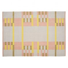 LANE Medium pink and yellow hand-woven flat weave wool rug 140 x 200cm | Buy now at Habitat UK Pastel Palette, Front Rooms, Pattern Blocks, Soft Furnishings, Habitats, Wool Rug, Pattern Design, Kids Room, Hand Weaving