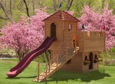 Wooden Dream Castle Series playsets by Playmor Swings Sets of Millersburg, Ohio. Quality Wooden castle tower with swing attachment for hours of playtime fun and memories Playground Design, Backyard Playground, Backyard For Kids, Playground Ideas, Wooden Castle, Build A Playhouse, Castle Playhouse, Wooden Playhouse, Outdoor Projects