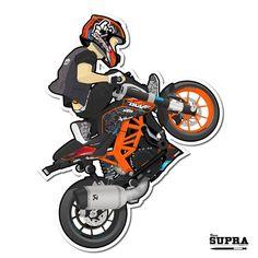 Cartoon Rokbagoros On His Ktm Duke 200 Doodle Ktm inside Cartoon Bikes Wallpapers Stunt Bike, Motorcycle Art, Bike Art, Wheeling, Duke Bike, Ktm Duke 200, Bike Drawing, Bike Photography, Old Classic Cars
