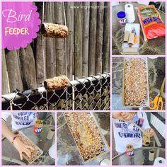 Una actividad para hacer con los niños por el Día de la Tierra. craft- recycle- earth day- bird feeder- kids