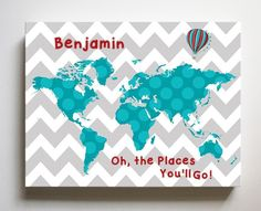 Personalized Dr Seuss Nursery Decor - Chevron Canvas World Map Collection - Oh The Places You'll Go-B018ISFZSM - Teal Red Gray / 8 x 10 Inches