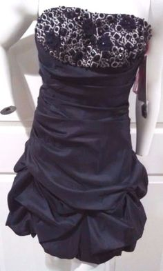 915560d7ab7d Fame Dress Juniors Size 4 Strapless Above Knee Black Beaded Forever Yours