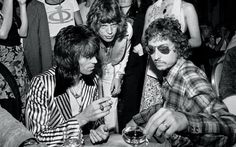 Ken Regan :: Birthday party for Mick Jagger with Keith Richards and Bob Dylan, Stones Tour Party, NYC, 1972