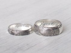 Set of 2 Actual Fingerprint Rings - Personalized Couple Rings - Couple Jewelry - Promise Rings - Personalized Jewelry - Custom Promise Rings, Promise Rings For Couples, Couple Rings, Etsy Jewelry, Charm Jewelry, Custom Jewelry, Unique Jewelry, Jewellery, Fingerprint Jewelry