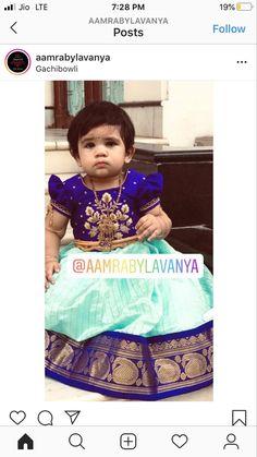 Dresses Kids Girl, Baby Girl Dresses, Lehanga For Kids, Kids Pattu Pavadai, Mom And Son Outfits, Baby Lehenga, Kids Blouse Designs, Mother Daughter Dresses Matching, Kids Dress Patterns