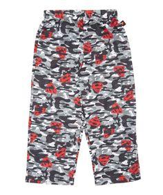 Gray & Red Camo Superman Pajama Bottoms - Boys