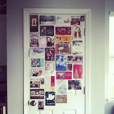 Cute way to display Christmas cards! - Did it this morning on our hall closet door at the bottom of the stairs.