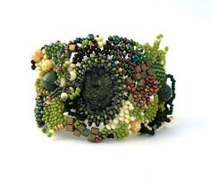 Beaded jewelry. Freeform peyote beaded cuff bracelet, with green, brown, creame beads, winter fashion, ooak,