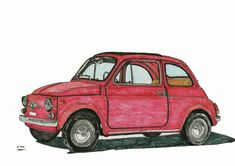 Fiat 500 Hand-drawn original painting / drawing by mphcarpaintings Pen And Watercolor, Watercolor Pencils, Watercolor Paintings, Original Paintings, Fiat 500, Car Drawing Pencil, Car Drawings, Baby Art, Retro Cars