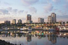 View of downtown and Rainbow Harbor. Places Open, Open My Eyes, Long Beach, New York Skyline, Rainbow, Sunset, Travel, Rain Bow, Rainbows