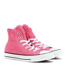 Converse Chuck Taylor All Star High-Top Sneakers featuring polyvore, fashion, shoes, sneakers, converse, pink, pink shoes, high top trainers, star sneakers, converse footwear and pink high tops