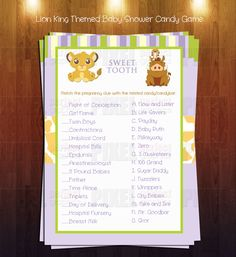 Lion King Themed Baby Shower Sweet Tooth Game  Instant Download By  PixelPerfectGraphics On Etsy Https