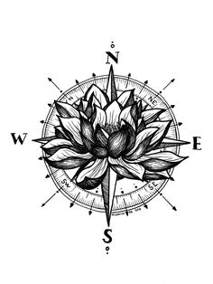 Lotus Compass Art Print by Wildwither - X-Small Small Compass Tattoo, Compass Art, Compass Drawing, Compass Tattoo Design, Compass Tattoo Forearm, Mandala Compass Tattoo, Nautical Compass Tattoo, Dragonfly Tattoo, Forearm Tattoos