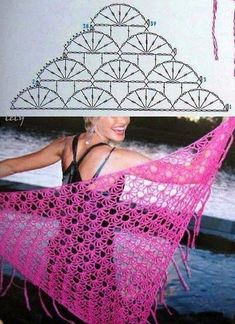 "crochet scarves and shawls ""MB Crochet: shawl and poncho"", ""wrap crochet (no written pattern)"", ""chal_rosado_p_."", ""Crochet shawls are a great way Crochet Shawl Free, Gilet Crochet, Crochet Diy, Crochet Shawls And Wraps, Crochet Diagram, Crochet Chart, Crochet Scarves, Crochet Clothes, Crochet Stitches"