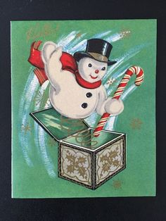 Unused Vintage Christmas Card Fuzzy Snowman Jack in Box Candy Cane