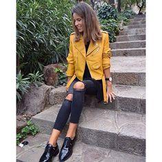Risultati immagini per leather jacket yellow outfit