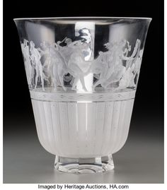 Art Glass:Other , Orrefors Clear and Frosted Intaglio Glass Vase. Designed by SimonGate, circa 1940. Engraved Orrefors, Gate. 258...