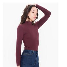 AA long sleeve turtleneck Long sleeve basic turtleneck, fits me like a medium, I'm usually a large in AA American Apparel Tops Tees - Long Sleeve