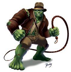 Hulk vs. Indiana Jones by RockyDavies.deviantart.com on @DeviantArt