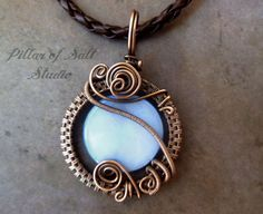 Wire wrapped pendant / Wire Wrapped jewelry by PillarOfSaltStudio, $39.00