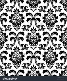 Black Silver Damask Wallpaper In The Closet And Silver
