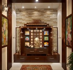 Architecture Home Design Projects Inspirations for Yours Lighting Pooja Room Idea Simple Tricks To Build A Beautiful For Indian Homes Pooja Room Door Design, Interior Design Living Room, Living Room Designs, Interior Designing, Design Bedroom, Living Rooms, Room Interior, Temple Room, Home Temple