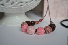 """Купить Бусы из бисера """"Магнолия"""" - розовый, розово-коричневый, коричневые бусины, бусины из бисера"""