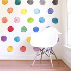 Large Rainbow Watercolor Dots are a set of Mej Mej fabric wall decals from the Color Story children's decor collection.
