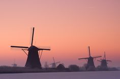Kinderdijk, the Dutch village nearby Rotterdam famous for its mills