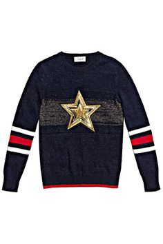 Collegiate-inspired fashion at its most optimistic, this wear-with-everything sweater works with jeans or a tailored skirt.If you never missed a pep rally, this knit's for you. Coach 1941 Wool Glitter Star Crewneck Sweater, $695, coach.com