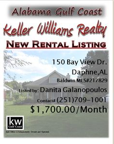 150 Bay View Dr. Daphne...MLS# 217829...$1,700.00/Monthly...3 Bed 3 Bath...This home offers Travertine & hardwood flooring,custom cabinets,granite counters,top of the line stainless appliances,office off of kitchen,built ins in great room,fireplace,formal dining with custom built in cabinet,master w/ jetted tub & double head shower,patio for lake views,guest room with it's own bath,open & airy and wonderful landscaping...Please Contact Danita Galanopoulos @ 251-709-1001