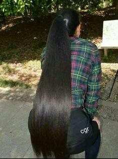 Long Hair Ponytail, Ponytail Hairstyles, Straight Hairstyles, Long Braids, Beautiful Long Hair, Gorgeous Hair, Long Indian Hair, Remy Hair Wigs, Long Black Hair