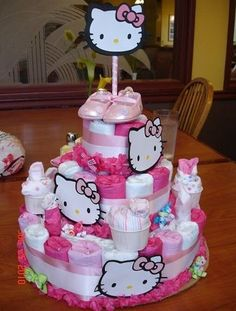 My Hand Made Hello Kitty Fondant Cake,Cupcakes, Cookies And Diaper Cake | Hello  KITTY | Pinterest | Signs, Hands And Babies