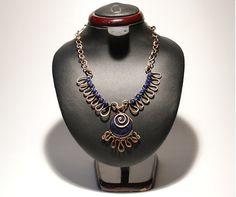 Lapis Necklace / Lapis Lazuli Necklace / Copper Jewelry /  Lapis Lazuli Stone / Wire Wrapped Jewelry Handmade / Woven Wire Jewelry