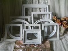 Vintage Frame Collection 9 Beautiful Frames with Decorative Ovals Wall Hangings Romantic Shabby Chic Cottage Wall Decor Vintage Frames by VintagePackratQueen on Etsy https://www.etsy.com/listing/200142044/vintage-frame-collection-9-beautiful