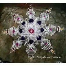 Rangoli and Art Works: Margazhi 2015 - Day 14 kolam Simple Rangoli Border Designs, Indian Rangoli Designs, Rangoli Designs Latest, Rangoli Designs Flower, Small Rangoli Design, Rangoli Designs With Dots, Beautiful Rangoli Designs, Rangoli Colours, Rangoli Patterns