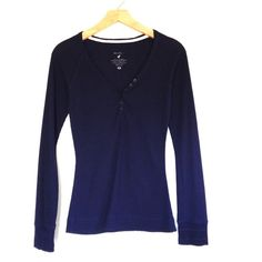 Navy Blue Long Sleeve Top Worn a few times, in excellent condition.  Size M, fits like a S.  Very form fitting.  No trades. Tops Tees - Long Sleeve
