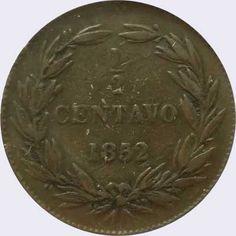 Pieza mv0.5cr-aa02 (Reverso). Moneda de Venezuela. 1/2 Centavo (Peso). Diseño A, Tipo A. Fecha 1852