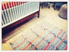 I made this area rug for Finn's nursery out of placemats that I found at an estate sale #DIY