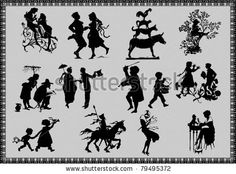 silhouettes of fairy tale figures - stock vector