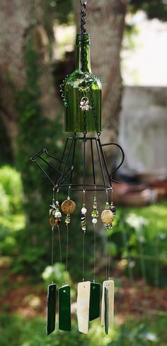 Beautiful Wine Bottle Wind Chime Made With Stained Glass And Unique Metal Watering Can. One Of A Kind Gift!