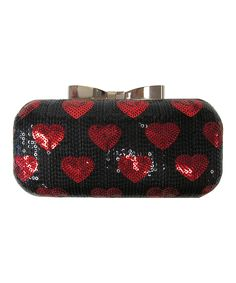 Black & Red Sequin Hearts Clutch