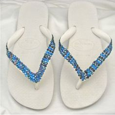 diy flip flops | DIY Blue and White Crystallized Flip Flops - A Summer Must-Have ...