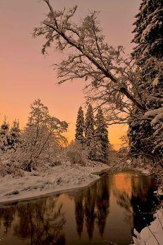 Winter landscape at dusk Winter Landscape, Landscape Art, Landscape Paintings, Winter Sunset, Winter Scenery, Snow Photography, Landscape Photography, Beautiful Places, Beautiful Pictures