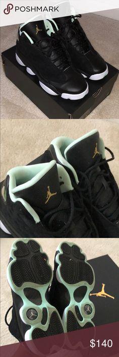 3f7de35d6a11f3 Air Jordan Retro 13 (Grade School) Black and mint foam retro 13s. Worn