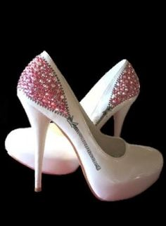Hidden Treasures Pink and White, Shoes, pump shoe high heel crystal swarvoski. If I could walk in heels this high, these would be mine. Pumps, Pump Shoes, Shoe Boots, Shoes Heels, Hot Shoes, Crazy Shoes, Me Too Shoes, Pretty Shoes, Beautiful Shoes