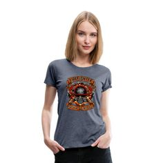 Geschenke Shop   fire fighter first in last out - Frauen Premium T-Shirt T Shirt Designs, Viscose Fabric, Design Quotes, Birthday Shirts, Firefighter, Fabric Weights, Heather Grey, T Shirts For Women, Tees