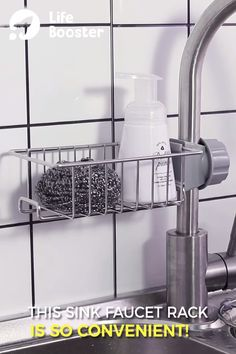Creative Sink Faucet Rack 😍 - Creative Sink Faucet Rack 😍 It was easy to install and help me to free up space! Home Decor Kitchen, Interior Design Kitchen, Kitchen Furniture, Diy Kitchen, Cool Kitchen Gadgets, Cool Kitchens, Kitchen Rack, Ikea Kitchen Storage, Kitchen Sink Faucets